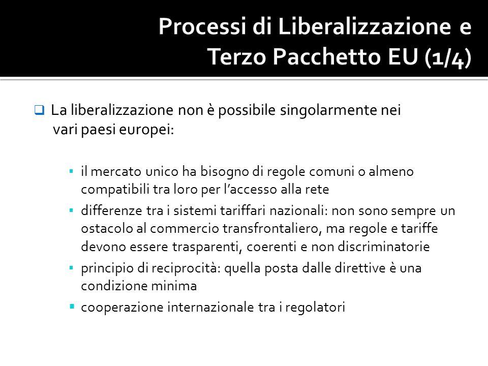 La liberalizzazione non è possibile singolarmente nei vari paesi europei: il mercato unico ha bisogno di regole comuni o almeno compatibili tra loro p