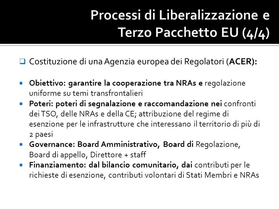Costituzione di una Agenzia europea dei Regolatori (ACER): Obiettivo: garantire la cooperazione tra NRAs e regolazione uniforme su temi transfrontalie