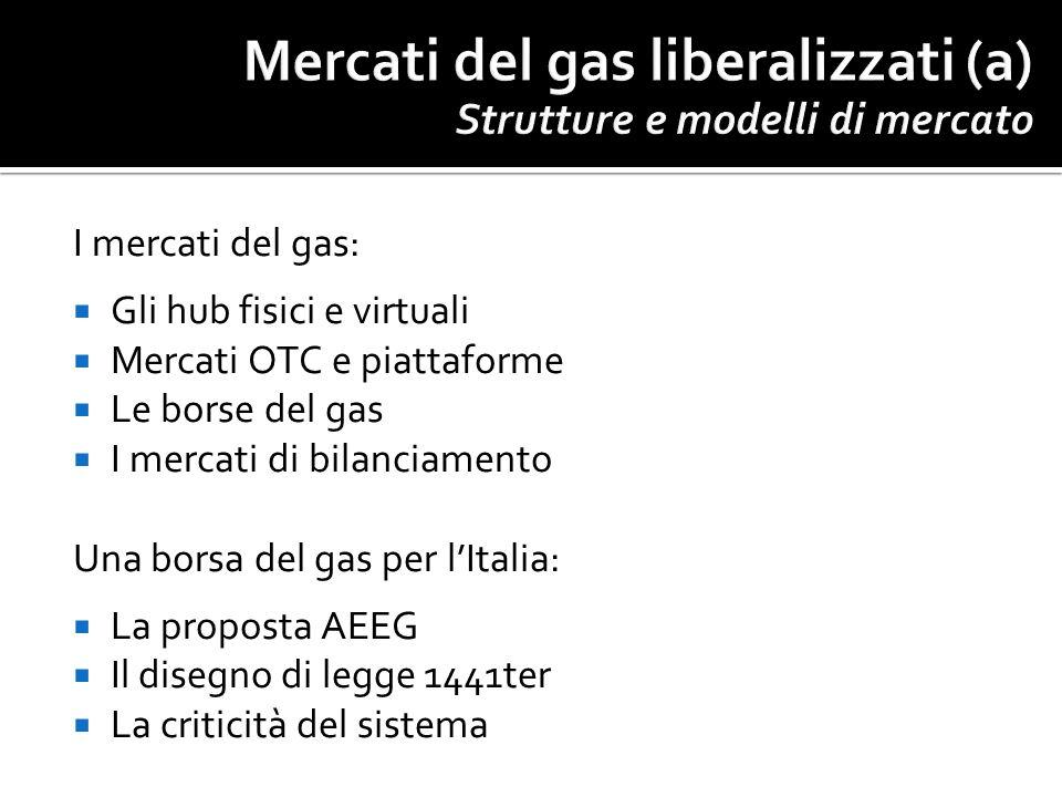 I mercati del gas: Gli hub fisici e virtuali Mercati OTC e piattaforme Le borse del gas I mercati di bilanciamento Una borsa del gas per lItalia: La p