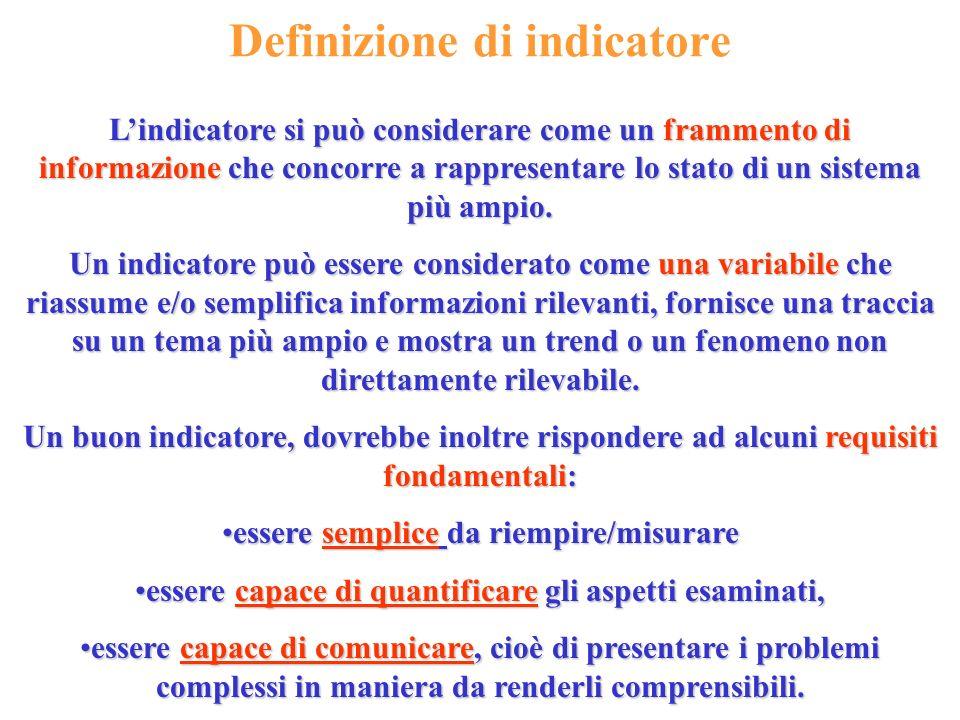 Definizione di indicatore Lindicatore si può considerare come un frammento di informazione che concorre a rappresentare lo stato di un sistema più amp