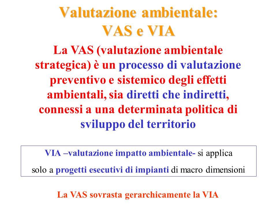 Valutazione ambientale: VAS e VIA VIA –valutazione impatto ambientale- si applica solo a progetti esecutivi di impianti di macro dimensioni La VAS (va