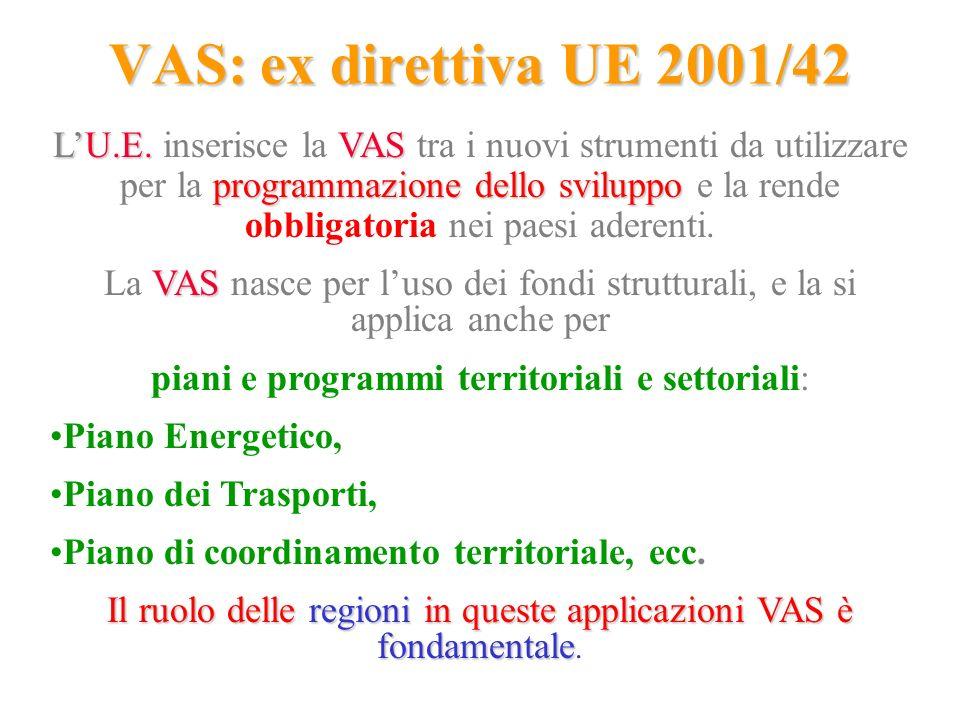 VAS: ex direttiva UE 2001/42 LU.E.VAS programmazione dello sviluppo LU.E. inserisce la VAS tra i nuovi strumenti da utilizzare per la programmazione d