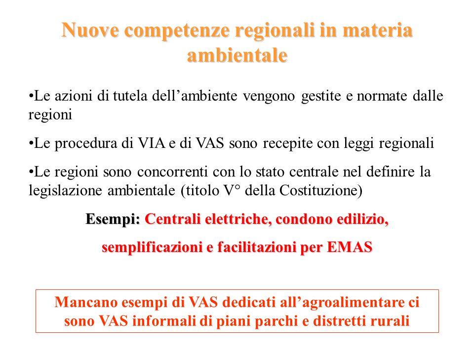 Nuove competenze regionali in materia ambientale Le azioni di tutela dellambiente vengono gestite e normate dalle regioni Le procedura di VIA e di VAS