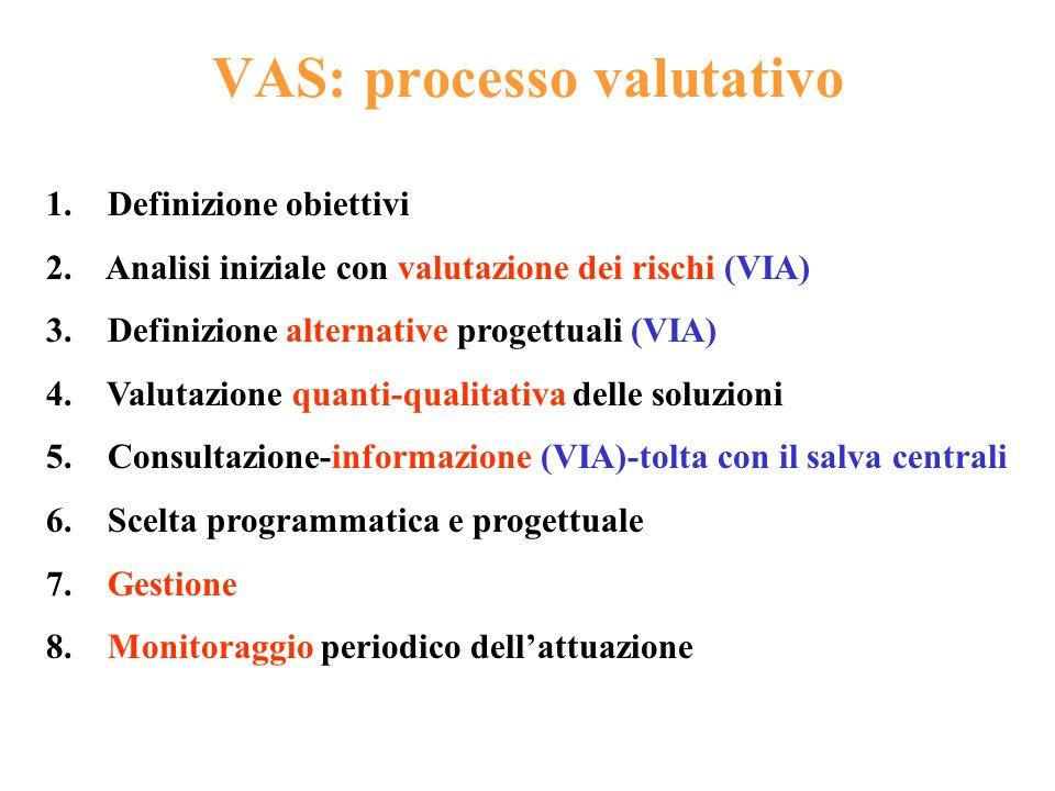 VAS: processo valutativo 1. Definizione obiettivi 2. Analisi iniziale con valutazione dei rischi (VIA) 3. Definizione alternative progettuali (VIA) 4.