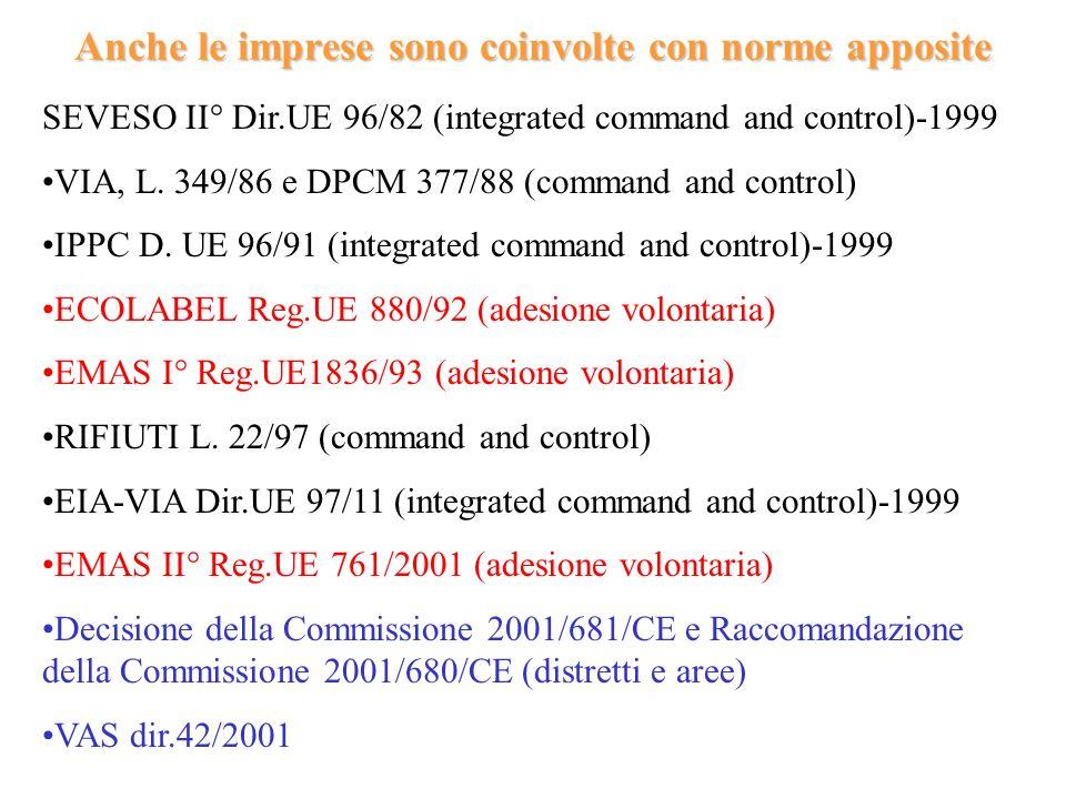 Anche le imprese sono coinvolte con norme apposite SEVESO II° Dir.UE 96/82 (integrated command and control)-1999 VIA, L. 349/86 e DPCM 377/88 (command