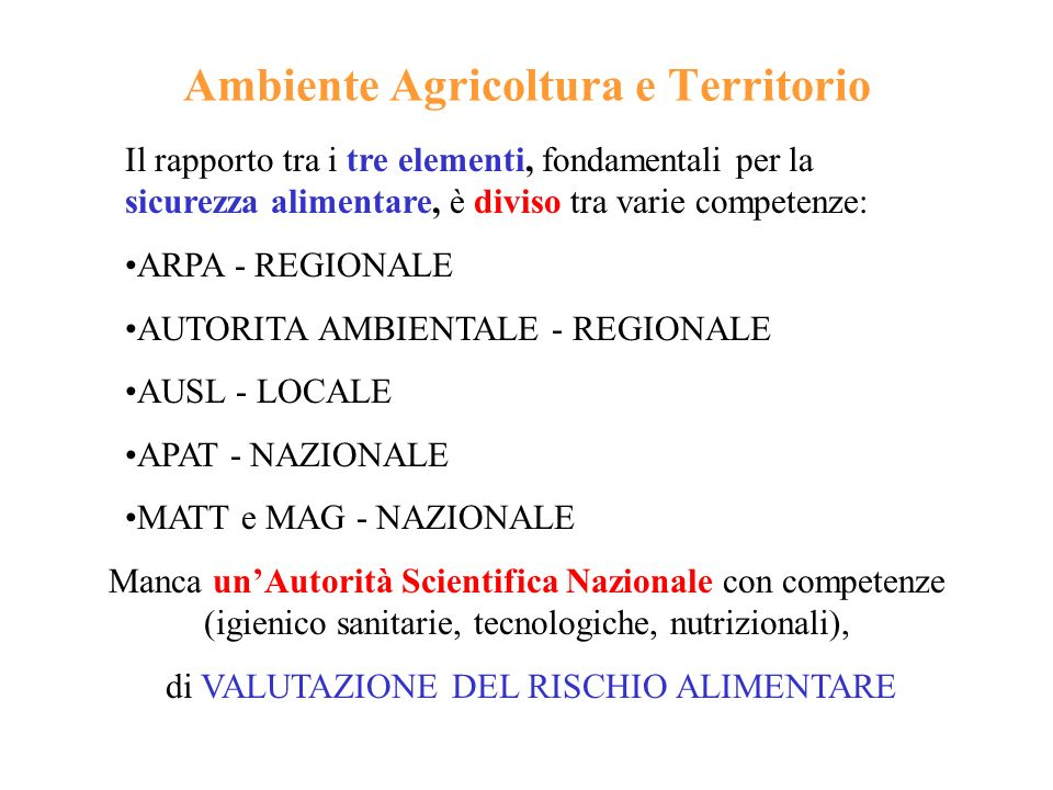 Ambiente Agricoltura e Territorio Il rapporto tra i tre elementi, fondamentali per la sicurezza alimentare, è diviso tra varie competenze: ARPA - REGI