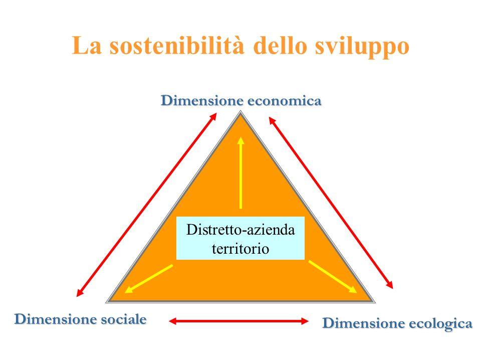 La sostenibilità dello sviluppo Dimensione economica Dimensione sociale Dimensione ecologica Distretto-azienda territorio