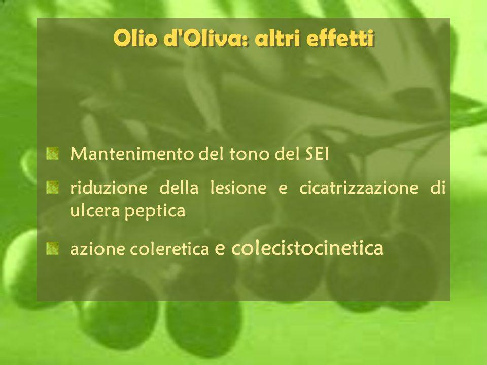 Mantenimento del tono del SEI riduzione della lesione e cicatrizzazione di ulcera peptica azione coleretica e colecistocinetica Olio d'Oliva: altri ef