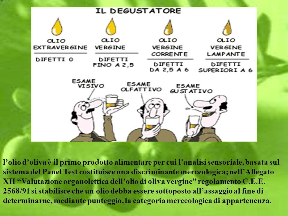 lolio doliva è il primo prodotto alimentare per cui lanalisi sensoriale, basata sul sistema del Panel Test costituisce una discriminante merceologica;
