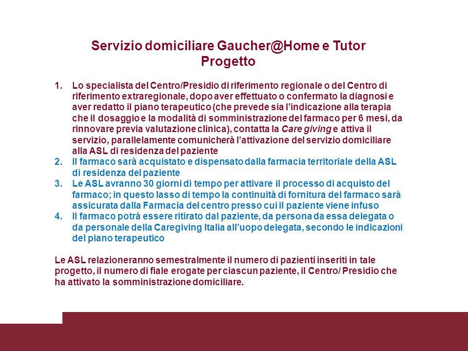 Servizio domiciliare Gaucher@Home e Tutor Progetto 1.Lo specialista del Centro/Presidio di riferimento regionale o del Centro di riferimento extraregi
