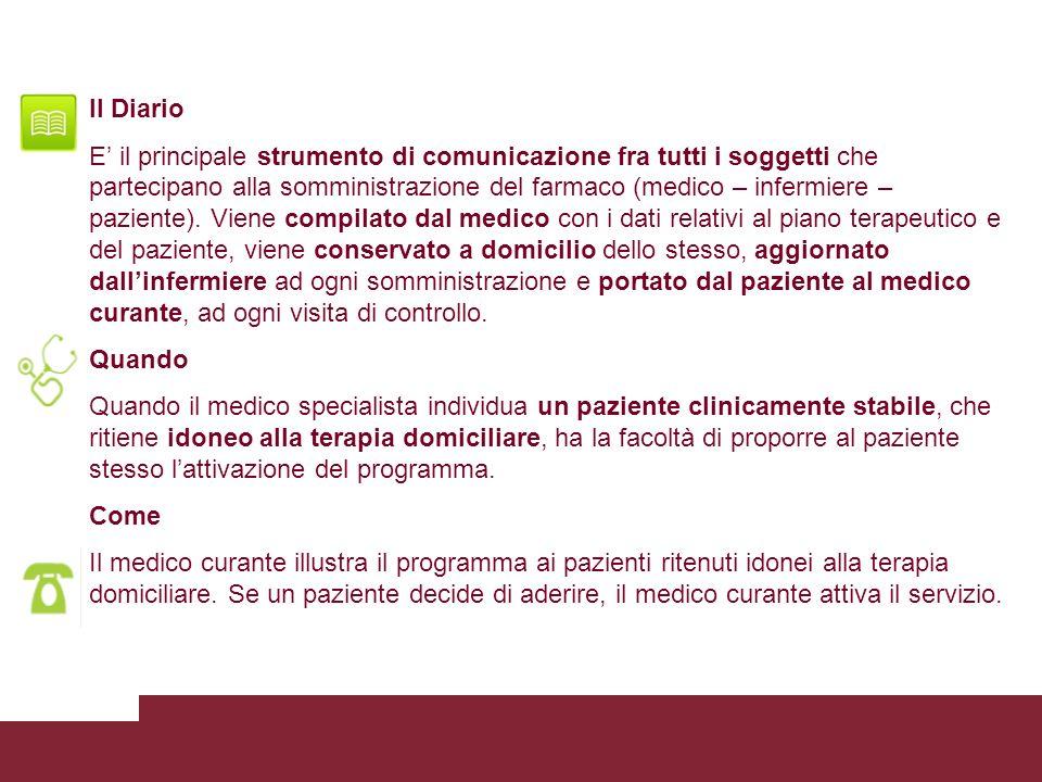 Il Diario E il principale strumento di comunicazione fra tutti i soggetti che partecipano alla somministrazione del farmaco (medico – infermiere – paz