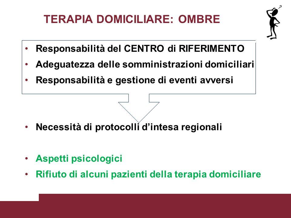 TERAPIA DOMICILIARE: OMBRE Responsabilità del CENTRO di RIFERIMENTO Adeguatezza delle somministrazioni domiciliari Responsabilità e gestione di eventi