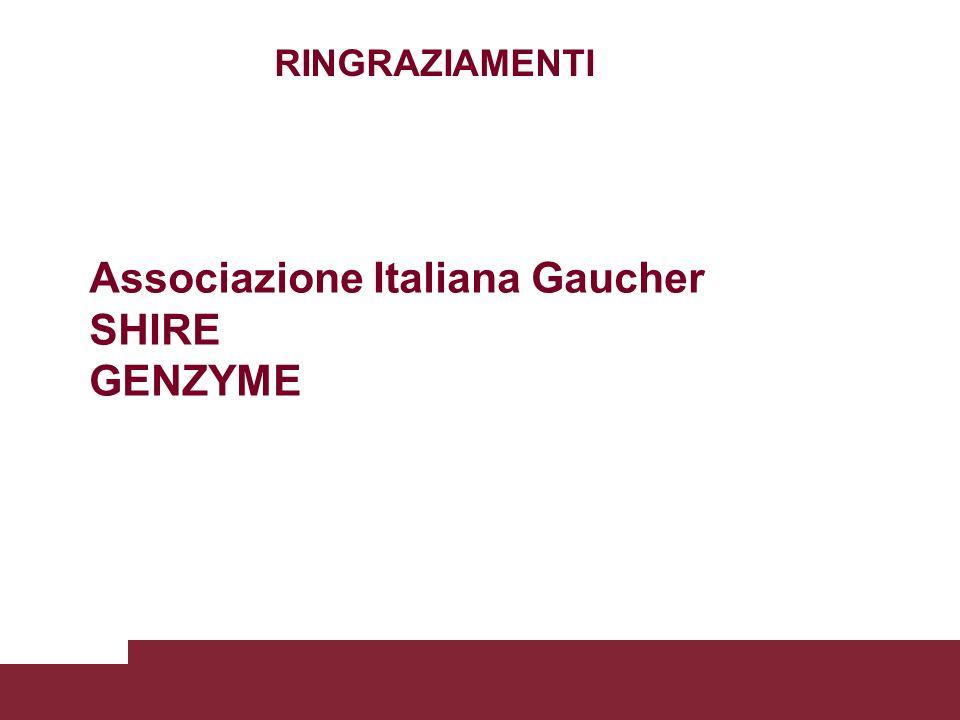 RINGRAZIAMENTI Associazione Italiana Gaucher SHIRE GENZYME