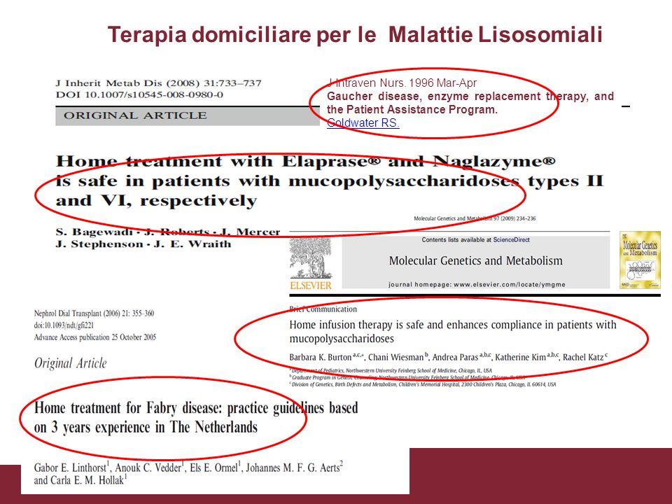 Terapia domiciliare per le Malattie Lisosomiali J Intraven Nurs. 1996 Mar-Apr Gaucher disease, enzyme replacement therapy, and the Patient Assistance