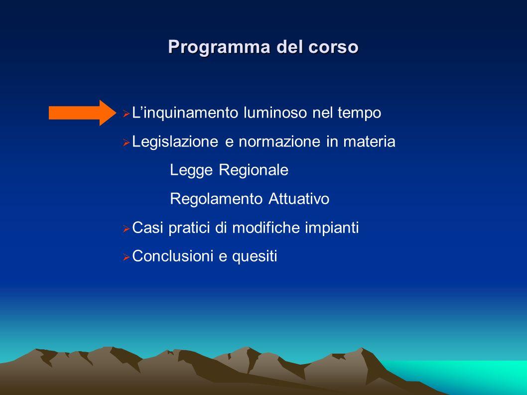 Programma del corso Linquinamento luminoso nel tempo Legislazione e normazione in materia Legge Regionale Regolamento Attuativo Casi pratici di modifi