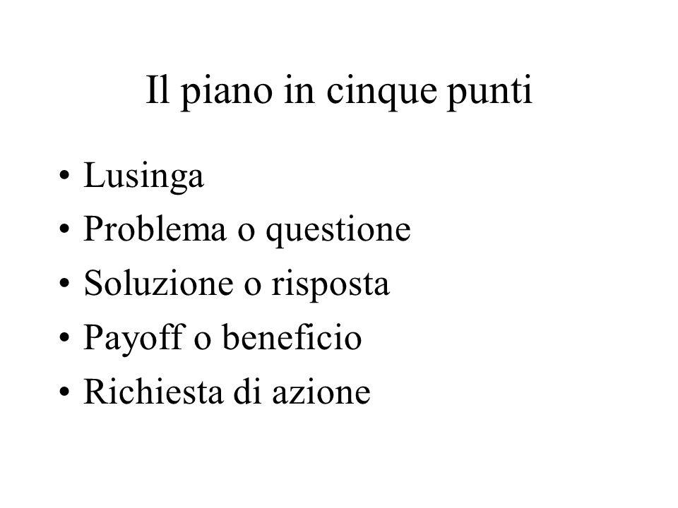 Il piano in cinque punti Lusinga Problema o questione Soluzione o risposta Payoff o beneficio Richiesta di azione