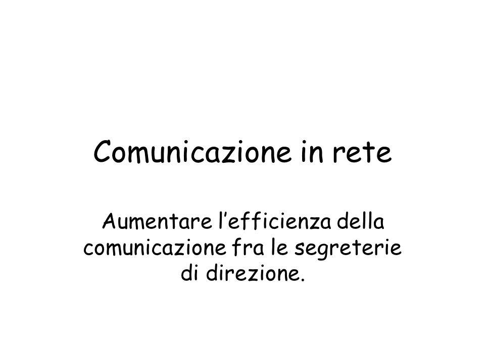 Comunicazione in rete Aumentare lefficienza della comunicazione fra le segreterie di direzione.