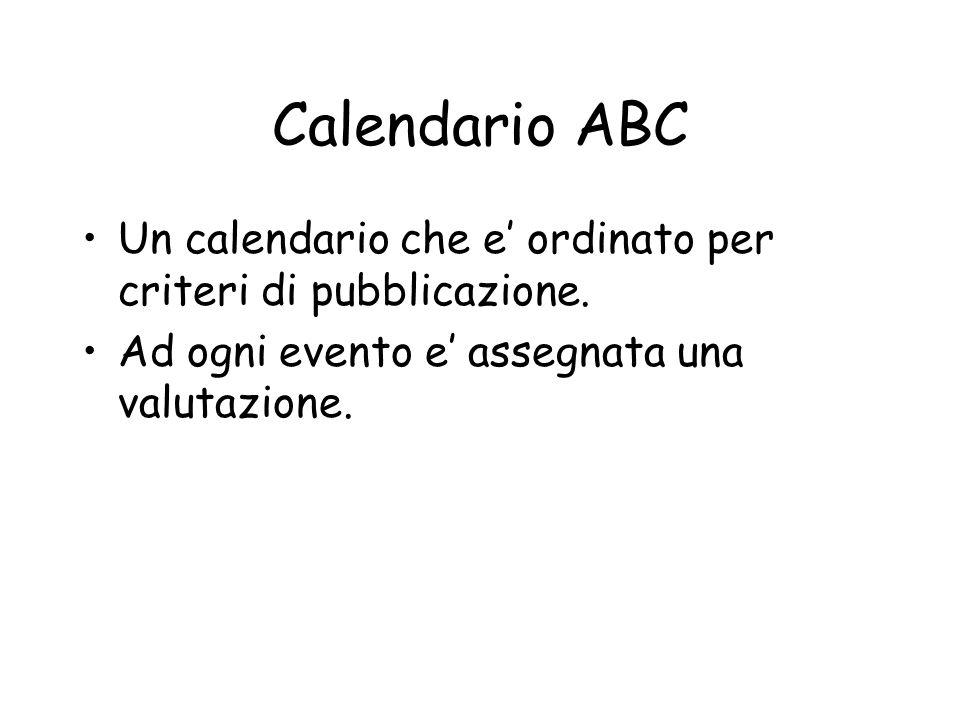 Calendario ABC Un calendario che e ordinato per criteri di pubblicazione.