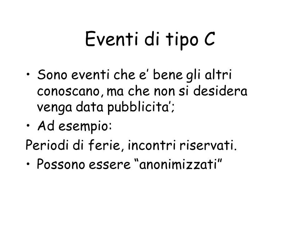 Eventi di tipo C Sono eventi che e bene gli altri conoscano, ma che non si desidera venga data pubblicita; Ad esempio: Periodi di ferie, incontri riservati.