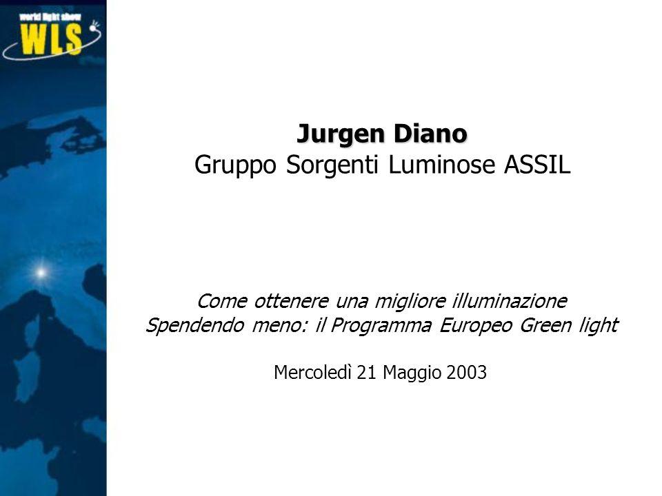 Come ottenere una migliore illuminazione Spendendo meno: il Programma Europeo Green light Mercoledì 21 Maggio 2003 Jurgen Diano Gruppo Sorgenti Lumino