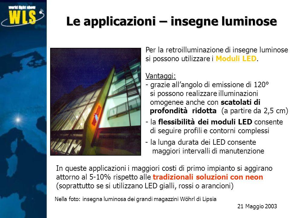 Le applicazioni – insegne luminose Per la retroilluminazione di insegne luminose si possono utilizzare i Moduli LED. Vantaggi: - grazie allangolo di e