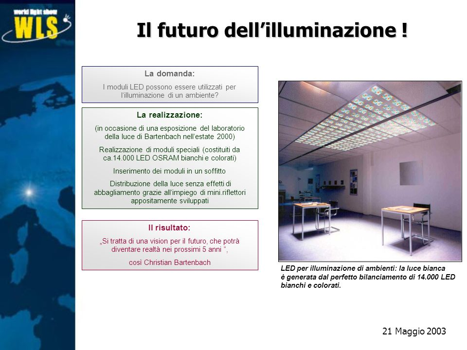 La domanda: I moduli LED possono essere utilizzati per lilluminazione di un ambiente? Il risultato: Si tratta di una vision per il futuro, che potrà d