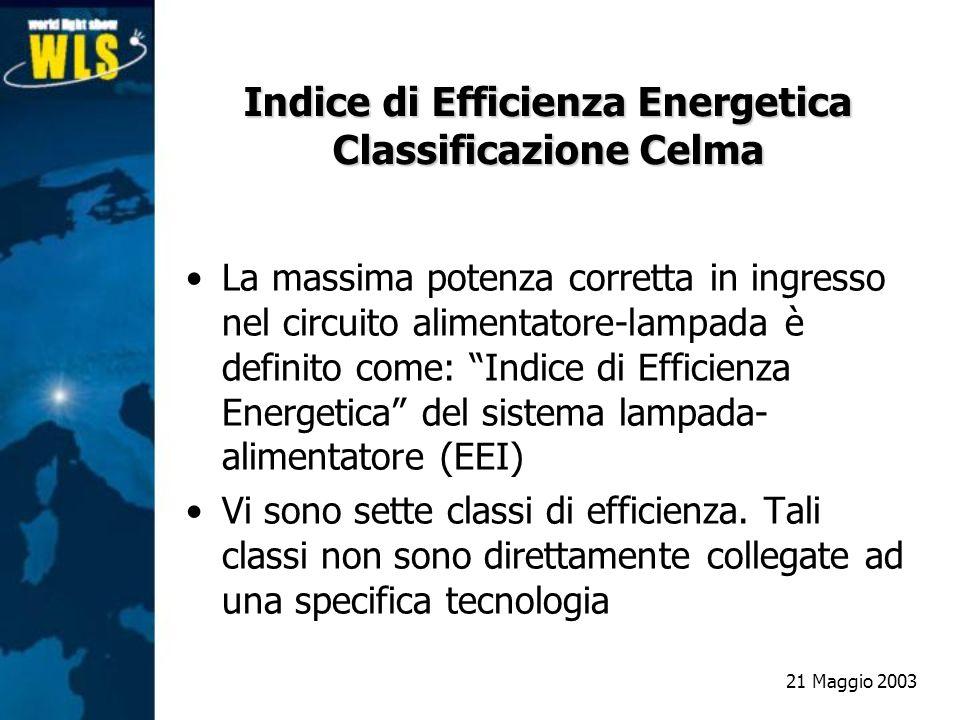 Indice di Efficienza Energetica Classificazione Celma La massima potenza corretta in ingresso nel circuito alimentatore-lampada è definito come: Indic