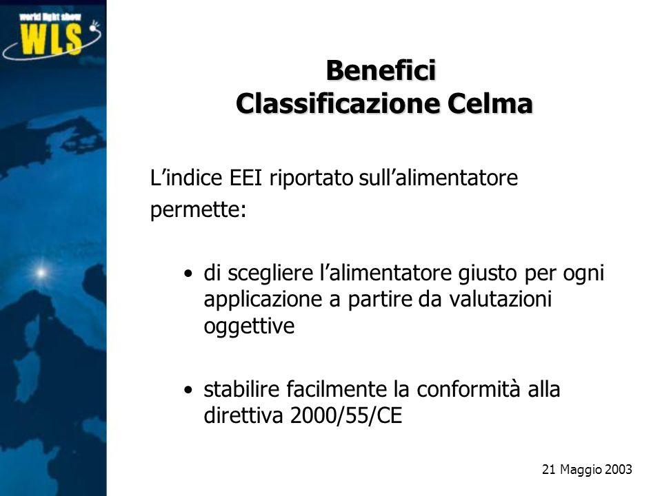 Benefici Classificazione Celma Lindice EEI riportato sullalimentatore permette: di scegliere lalimentatore giusto per ogni applicazione a partire da v