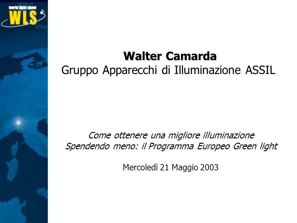 Come ottenere una migliore illuminazione Spendendo meno: il Programma Europeo Green light Mercoledì 21 Maggio 2003 Walter Camarda Gruppo Apparecchi di
