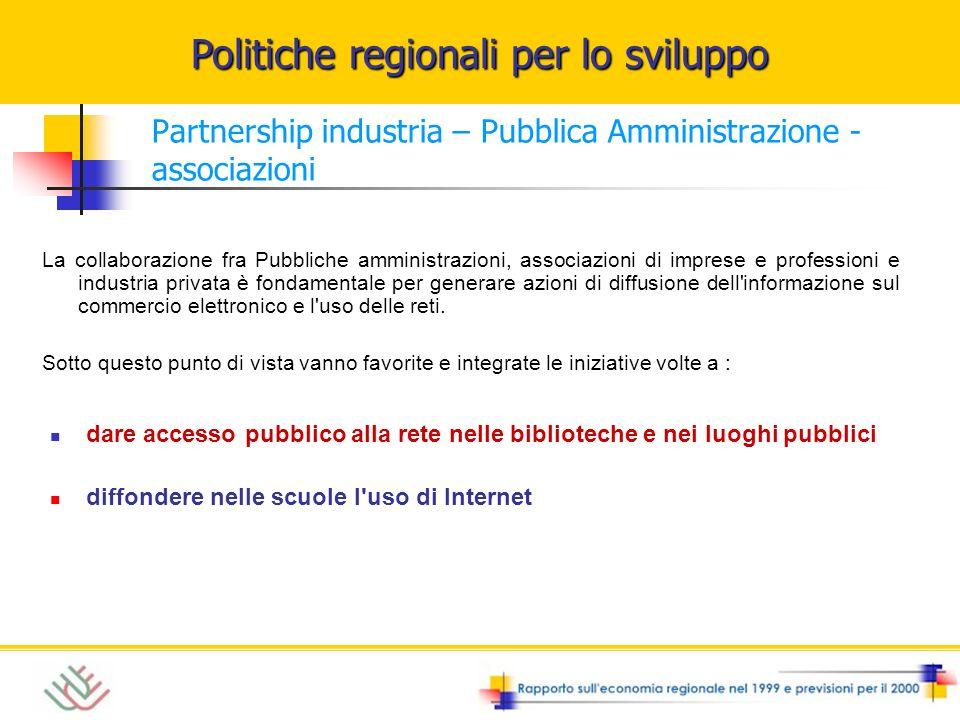 Politiche regionali per lo sviluppo Partnership industria – Pubblica Amministrazione - associazioni dare accesso pubblico alla rete nelle biblioteche