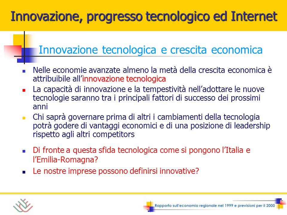 Innovazione tecnologica e crescita economica innovazione tecnologica Nelle economie avanzate almeno la metà della crescita economica è attribuibile al