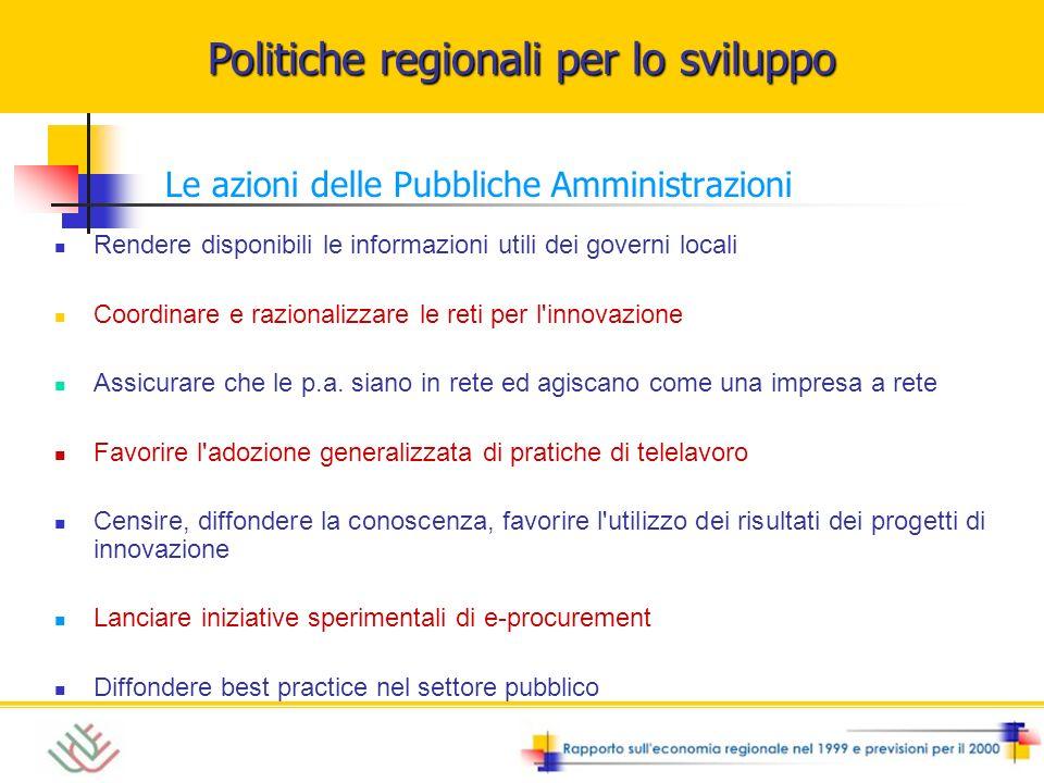 Politiche regionali per lo sviluppo Le azioni delle Pubbliche Amministrazioni Rendere disponibili le informazioni utili dei governi locali Coordinare e razionalizzare le reti per l innovazione Assicurare che le p.a.
