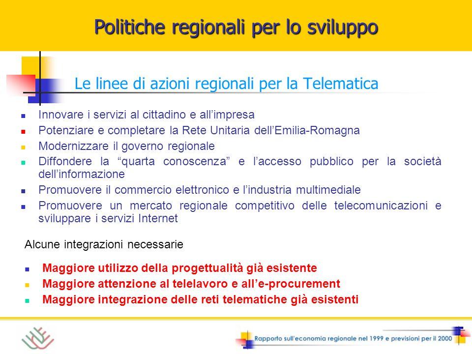 Politiche regionali per lo sviluppo Le linee di azioni regionali per la Telematica Innovare i servizi al cittadino e allimpresa Potenziare e completar