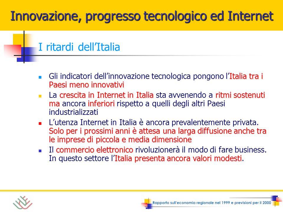 I ritardi dellItalia Italia tra i Paesi meno innovativi Gli indicatori dellinnovazione tecnologica pongono lItalia tra i Paesi meno innovativi crescit