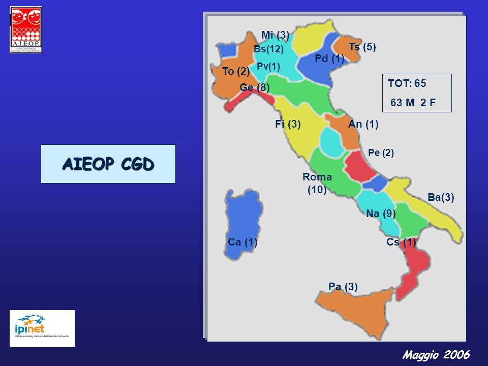 Ba(3) Bs(12) Pv(1) Mi (3) Na (9) Roma (10) To (2) TOT: 65 63 M 2 F Ts (5) Ca (1) Ge (8) An (1) Pa (3) Fi (3) Cs (1) Pd (1) AIEOP CGD Pe (2) Maggio 200