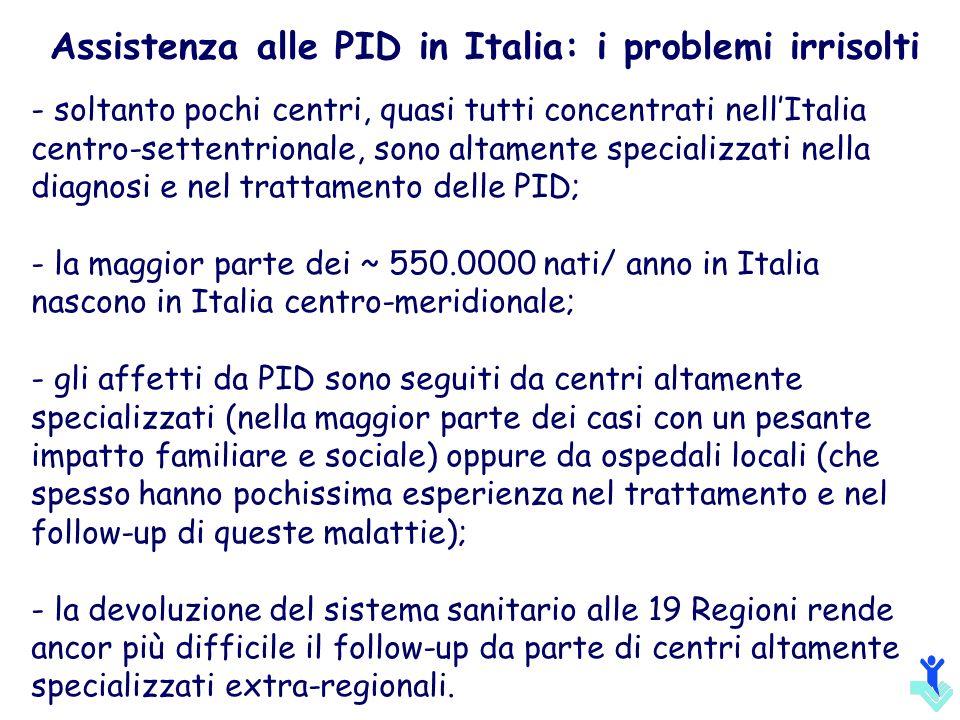 Assistenza alle PID in Italia: i problemi irrisolti - soltanto pochi centri, quasi tutti concentrati nellItalia centro-settentrionale, sono altamente