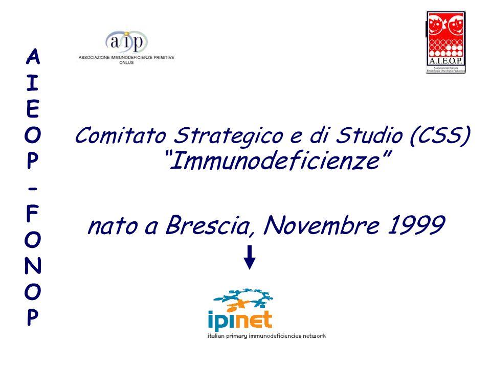AIEOP-FONOPAIEOP-FONOP Comitato Strategico e di Studio (CSS) Immunodeficienze nato a Brescia, Novembre 1999
