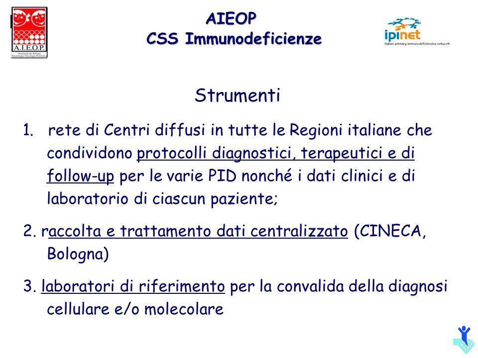 Strumenti 1. rete di Centri diffusi in tutte le Regioni italiane che condividono protocolli diagnostici, terapeutici e di follow-up per le varie PID n