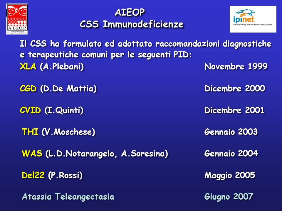 Il CSS ha formulato ed adottato raccomandazioni diagnostiche e terapeutiche comuni per le seguenti PID: XLA (A.Plebani) Novembre 1999 CGD (D.De Mattia