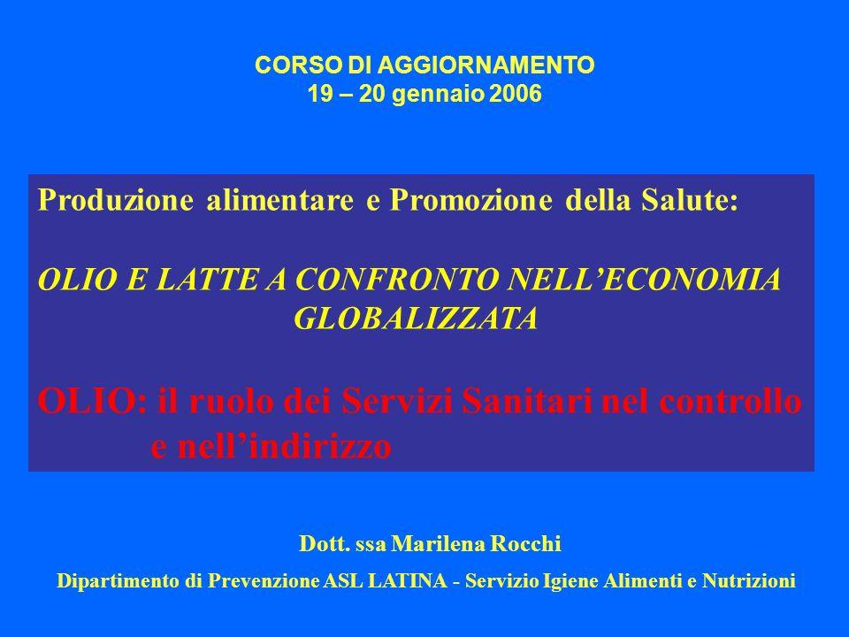 CORSO DI AGGIORNAMENTO 19 – 20 gennaio 2006 Produzione alimentare e Promozione della Salute: OLIO E LATTE A CONFRONTO NELLECONOMIA GLOBALIZZATA OLIO: