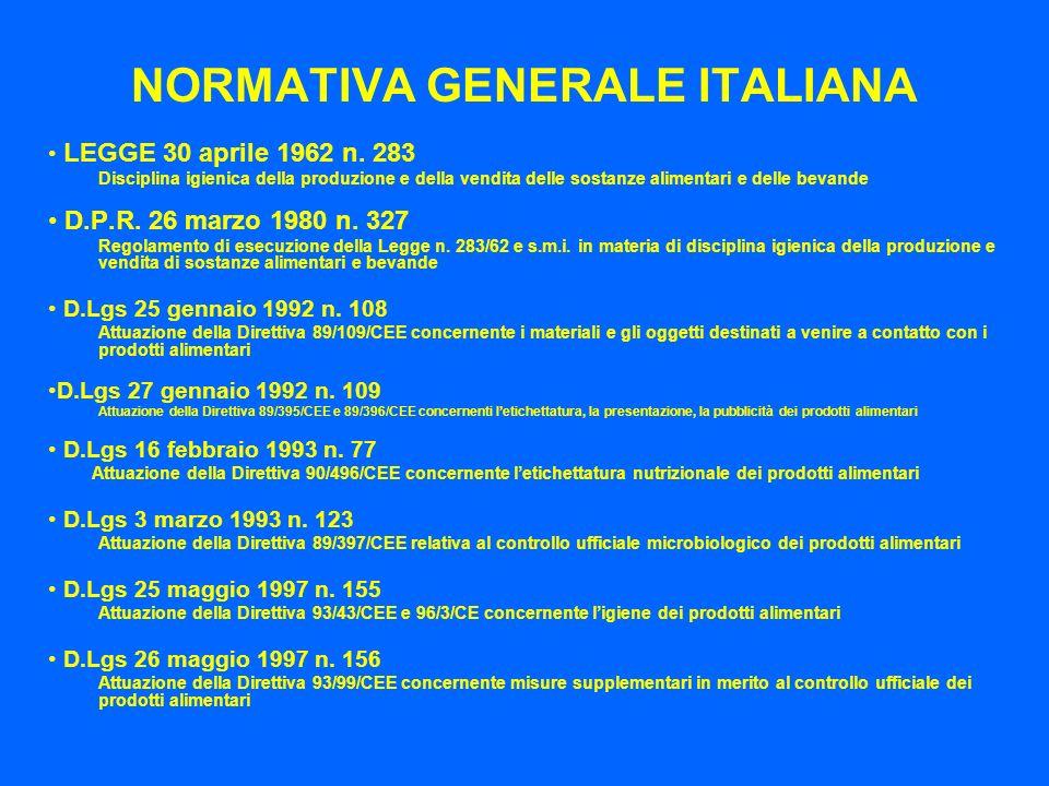 NORMATIVA GENERALE ITALIANA LEGGE 30 aprile 1962 n. 283 Disciplina igienica della produzione e della vendita delle sostanze alimentari e delle bevande