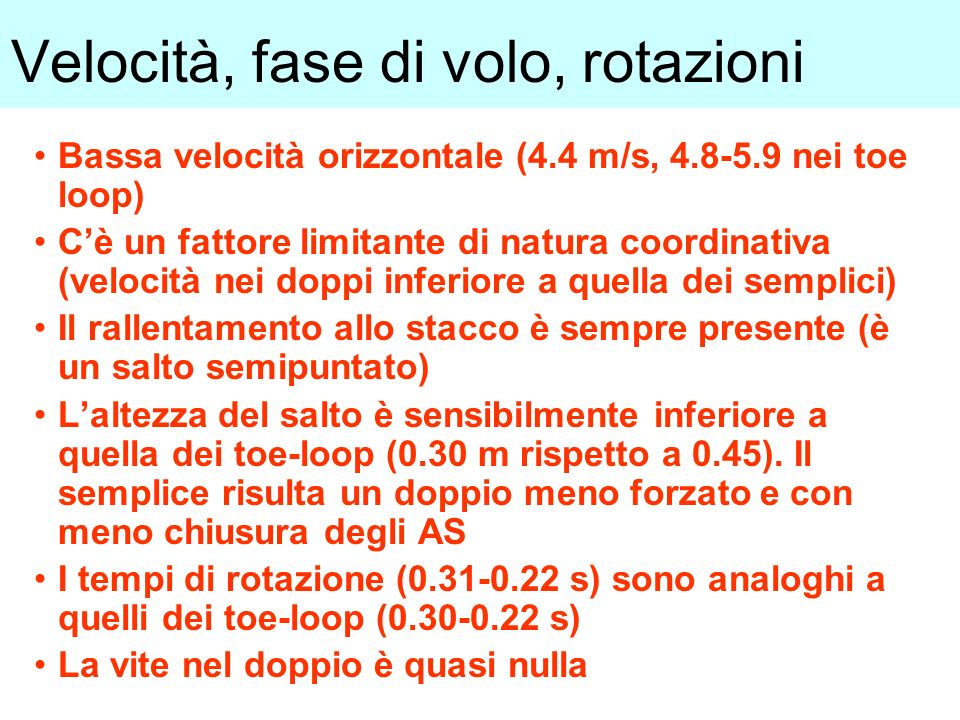 Velocità, fase di volo, rotazioni Bassa velocità orizzontale (4.4 m/s, 4.8-5.9 nei toe loop) Cè un fattore limitante di natura coordinativa (velocità