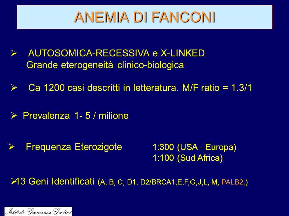 AUTOSOMICA-RECESSIVA e X-LINKED Grande eterogeneità clinico-biologica Ca 1200 casi descritti in letteratura. M/F ratio = 1.3/1 Frequenza Eterozigote 1