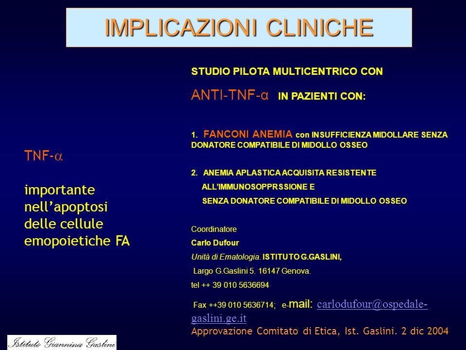 IMPLICAZIONI CLINICHE STUDIO PILOTA MULTICENTRICO CON ANTI-TNF-α IN PAZIENTI CON: FANCONI ANEMIA 1. FANCONI ANEMIA con INSUFFICIENZA MIDOLLARE SENZA D