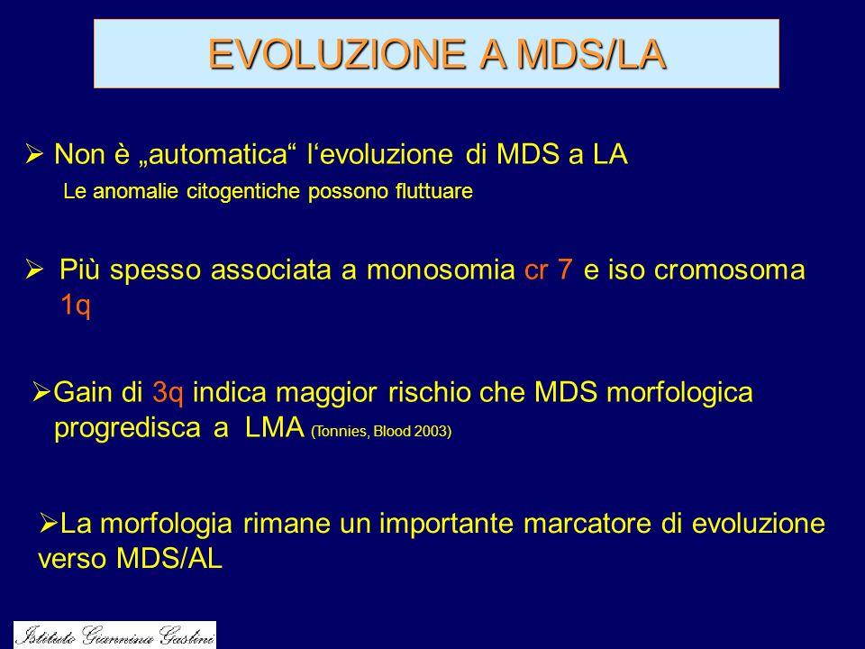 EVOLUZIONE A MDS/LA Più spesso associata a monosomia cr 7 e iso cromosoma 1q Non è automatica levoluzione di MDS a LA Le anomalie citogentiche possono
