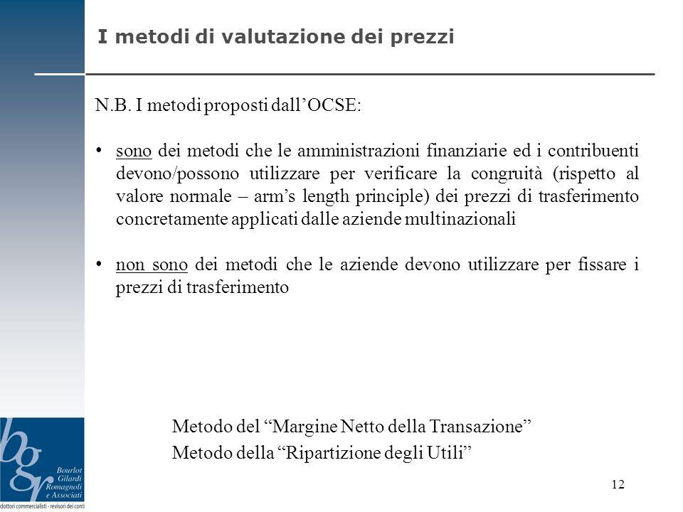 N.B. I metodi proposti dallOCSE: sono dei metodi che le amministrazioni finanziarie ed i contribuenti devono/possono utilizzare per verificare la cong