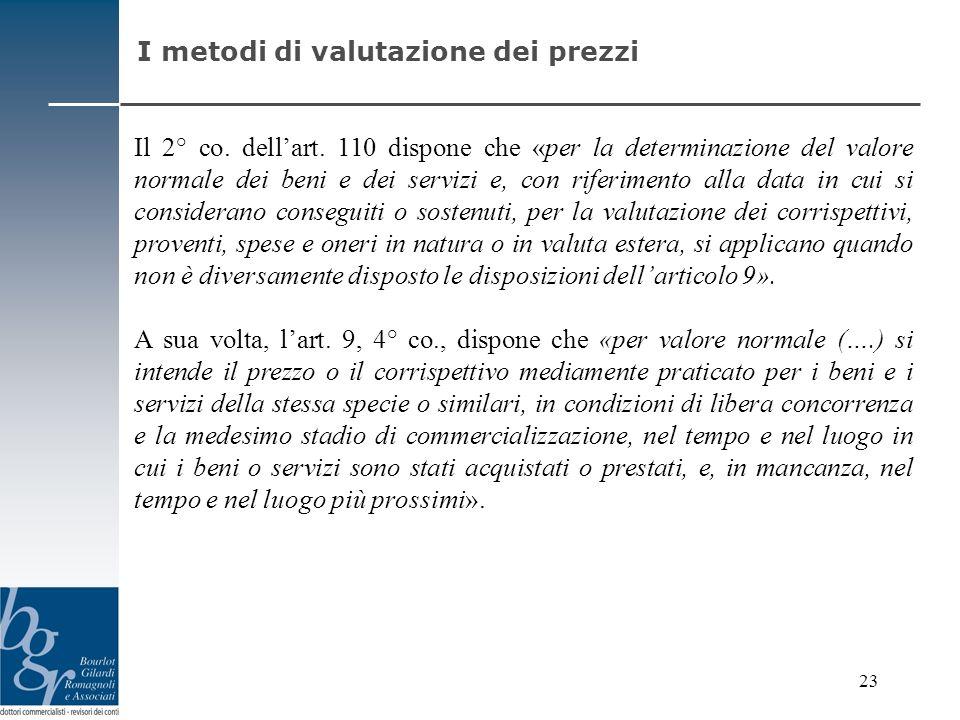 Il 2° co. dellart. 110 dispone che «per la determinazione del valore normale dei beni e dei servizi e, con riferimento alla data in cui si considerano