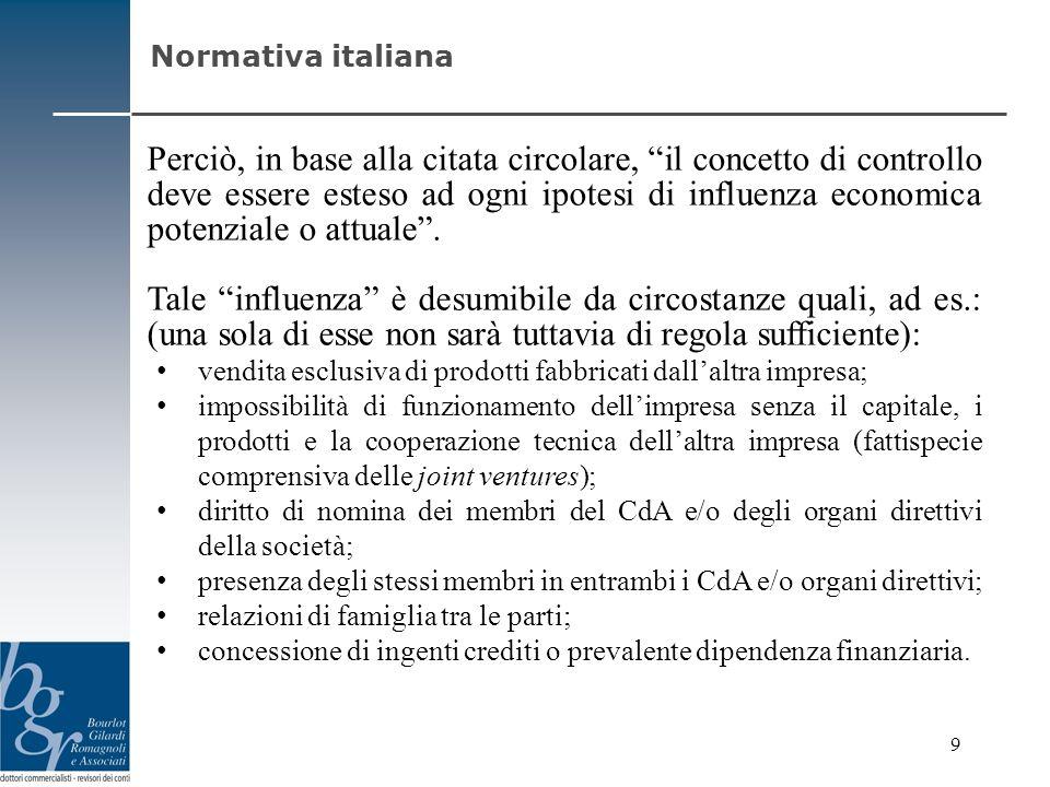 Perciò, in base alla citata circolare, il concetto di controllo deve essere esteso ad ogni ipotesi di influenza economica potenziale o attuale. Tale i