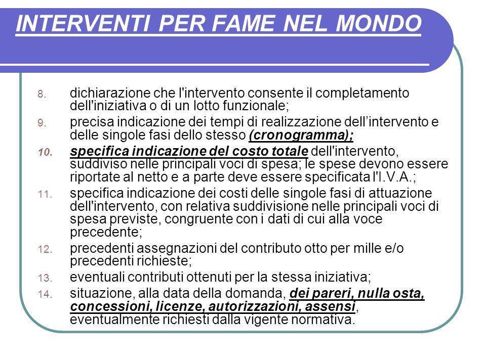 INTERVENTI PER FAME NEL MONDO 8.