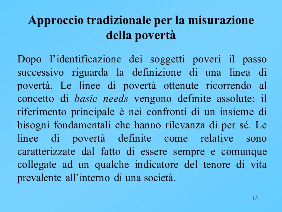 13 Approccio tradizionale per la misurazione della povertà Dopo lidentificazione dei soggetti poveri il passo successivo riguarda la definizione di un
